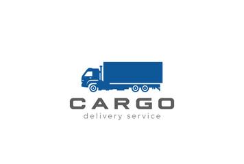 Cargo Truck silhouette Logo design vector Delivery shipping icon