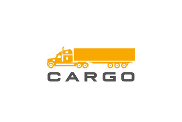Cargo Truck silhouette Logo design vector Delivery shipping icon