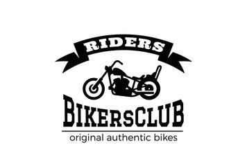 Motor Bike Chopper Logo vector Bikers club Vintage Label