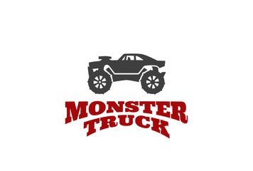 Monster truck Logo design vector template