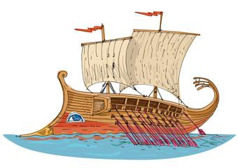 vintage sailboat - threerema - cartoon