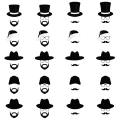 face with different hat vector illustration