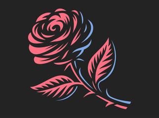 Red rose - vector illustration, emblem design on dark background
