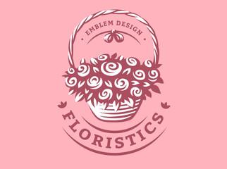 Flowers basket logo - vector illustration, emblem design on pink background