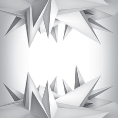 Volume geometric shape, 3d crystals surface, abstraction low polygons object, vector design form