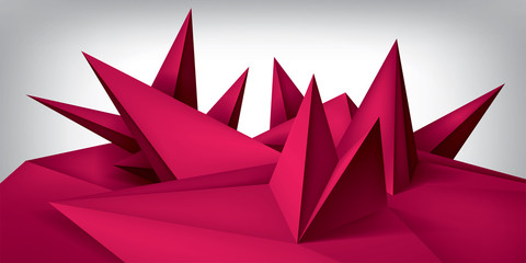 Volume geometric shape, 3d quartz crystals surface, abstraction low polygons object, vector design form