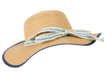 An elegant female straw hat on white background