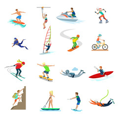 Flat people sailing bike skates vector. Extreme sports activity