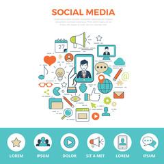 Linear flat SOCIAL MEDIA infographics website hero image vector