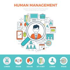Business team Linear flat HUMAN MANAGEMENT infographics vector.