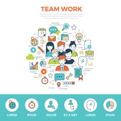 Business team Linear flat TEAMWORK infographics template vector.