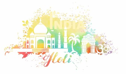Postcard for the holiday of Holi in India