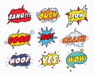 Comic sound speech effect bubbles set isolated on white background vector illustration. Wow,pow,bang,ouch,crash,woof,no,yes lettering.