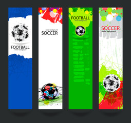 Set of bright banners for soccer. Grunge ball, hand-drawing textures. Sports Vertical templates for web. EPS file is layered(clipping mask).