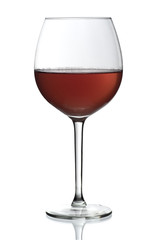Glass of red wine on isolated white background