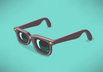 Classic Model Sunglasses On A Solid Background. Vector Graphic.