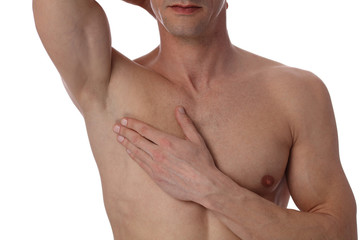 Muscular male torso close up , chest and armpit , underarm hair removal isolated on white background. Male Waxing. Laser hair removal