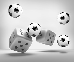 dices and soccer balls 3d render