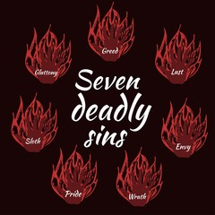 Seven deadly sins. Bible. Vector illustration