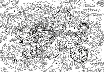 Underwater sea octopus in zentangle style.