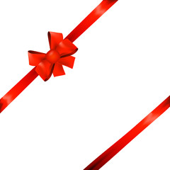 red ribbon bow for packaging, postcards, on a white background