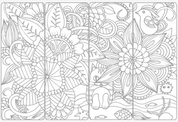 Vector set of monochrome bookmarks and doodle flowers for coloring adult coloring book.