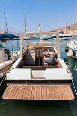 Yachts in the marina of the Mediterranean sea. Croatia