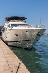 White luxury yacht in the marina of the Adriatic sea. Croatia