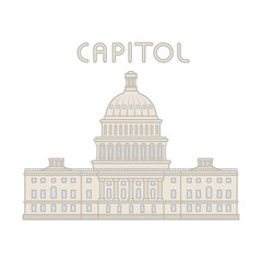 Vector american capitol building line flat cartoon. Washington  background.