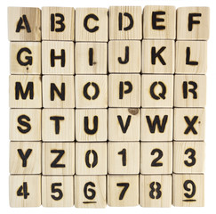 Square grid of wood burned alphabet blocks and numbers zero to nine. iIsolated.