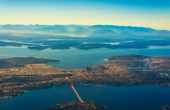 Aerial view of Seattle, Washington, Puget Sound, and the Olympic Mountains