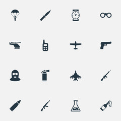 Set Of 16 Simple Terror Icons. Can Be Found Such Elements As Ammunition, Paratrooper, Field Glasses And Other.
