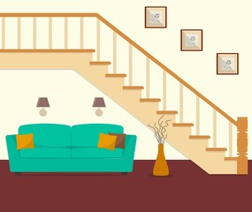 Green sofa, located under the stairs. There is also a big vase, lamps and pictures in the image. Vector flat illustration.