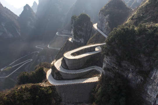 Dangerous serpantine road in the Chinese mountains