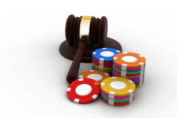 Judge gavel with dice
