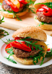Veal Burger with Goat Cheese and pepper