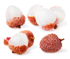 Set of ripe Chinese Lychee isolated on white background