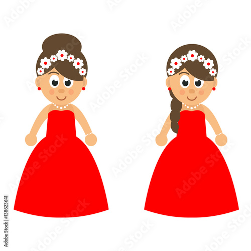 Woman in red dress cartoon images
