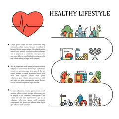 Healthy lifestyle vector infographic information in line style with heart shape. Natural life background illustration. Proper nutrition and physical activity. Colorful icons set isolated.