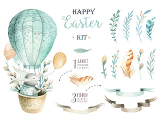 Hand drawn watercolor happy easter set with bunnies design.Rabbit  bohemian style, watercolour isolated illustration on white. natural boho style.  nest, quail,  thrush, birth, tree.