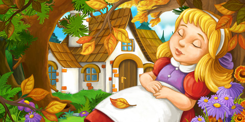 cartoon scene with young girl sleeping in the forest under the tree near cute farm house