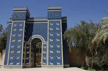 The main entrance to ruins of the ancient Babylon is build in shape of the Ishtar gate which was situated in the ancient city. It is about third of the size of the original Ishtar gate.
