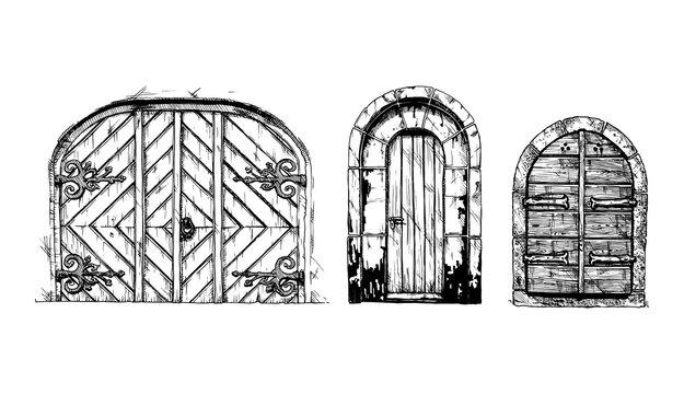Middle age vintage doors.