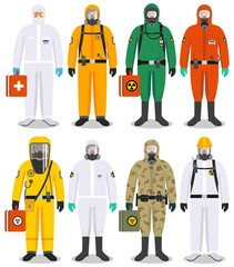 Chemical industry concept. Detailed illustration different workers in differences protective suits on white background in flat style. Dangerous profession. Vector illustration.