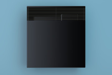 Convection heater on the blue wall front view, 3D rendering