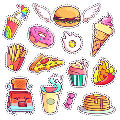 Trendy cool set of fast food patch badges in pop art style. Vector collection of stickers and pins with meal.