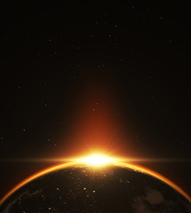 Fototapete - Abstract exoplanet sunrise