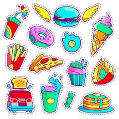 Trendy cool set of fast food patch badges in pop art style. Vector collection of neon stickers and pins with meal.