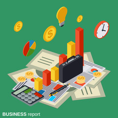 Business report, financial statistic, management, analytics isometric vector concept