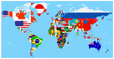 Wall Mural - World Flag Map with a blue background